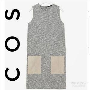 COS Leather Pocket Dress Gray Shift Size Large